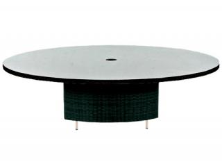 Westminster Code VLT402 + glass. A stylish, woven round dining table with glass top.