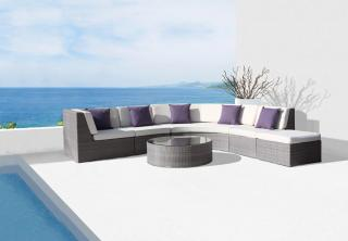 A stunning, curved woven garden sofa set, in a choice of colours, for the garden or patio. Coffee table not included.