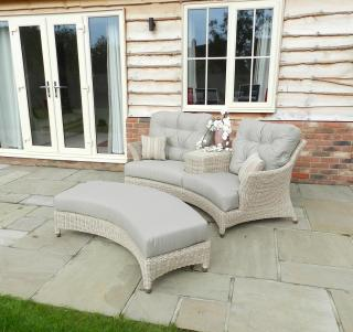A Hularo Weave companion set with London Taupe all weather cushions. Footstool available at extra cost.