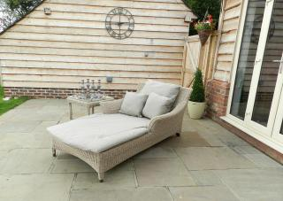 Relax in this cofortable Hularo Weave sun lounger with all weather cushions in London Taupe.