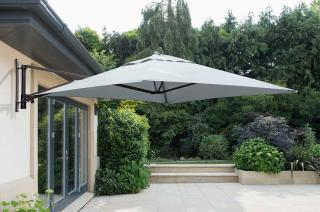 This is a cantilever parasol which will provide shade for a permanent seating area on the patio & comes in a choice of colours.