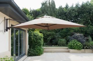 Norfolk Leisure 2m Square Wall Mounted Cantilever Parasol in Taupe