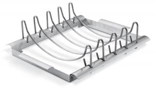 This new design, stainless steel rack will take ribs or roasts on your barbecue.