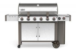 A stainless steel 6 burner BBQ with side burner, the new GS4 grilling system & Gourmet BBQ system grate.