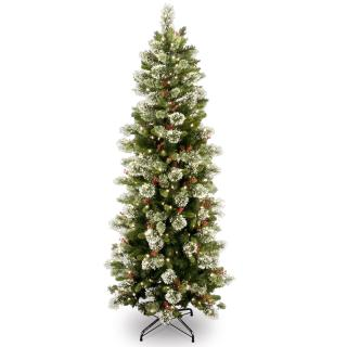This 7ft Pre-lit Slim Wintry Pine Christmas tree has berries, cones & snow. FREE Gift included when you buy online.