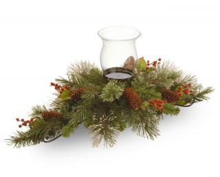 "This artificial Christmas centrepiece measures approximately 76cm (30"") long & it is decorated with cones & berries."