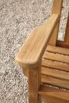 close up of armrest of Teak London 180cm Bench