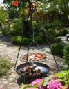 Cook King Steel Grate Tripod Grill with Stainless Steel Grate over Bali Fire Bowl